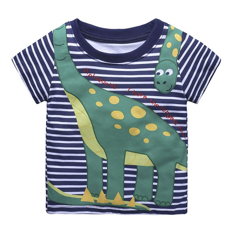 Cartoon Print Baby Boys Dinosaur T-Shirt For Summer Infant Kids Boys Girls Lion T-Shirts Clothes Cotton Toddler Letter Tops 1-5Y camisetas niños dibujos