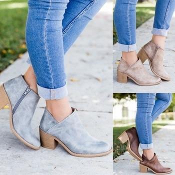 50336e488d3b SHUJIN/2018 шикарная Осенняя Женская обувь в стиле ретро, ботильоны на  высоком каблуке, женские повседневные ботинки на среднем квадратном каблу.