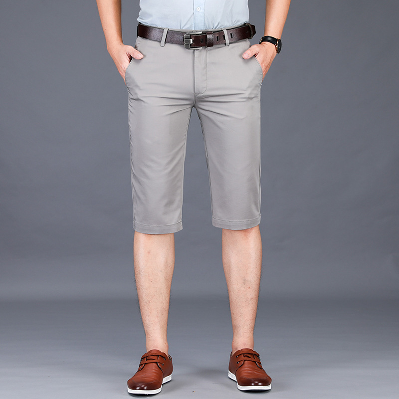 Utmeon New Summer Casual Shorts Men 2019 Cotton Knee Length Chinos Shorts Casual Men Shorts  Mens Casual Shorts