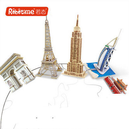 Robotime High Quality DIY Unfinished Wood 3D Puzzle Eiffel Tower Maya Pyramids Burj Al Arab Triumph Arch Kids Novelty Toys