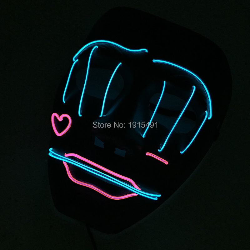 Halloween Led Mask Clothing Big Terror Mask Cold Light Fluorescent Cartoon Heart Festival Party Lights DC3V Steady On Converter
