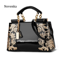 Nevenka Embroidery Handbag Women Evening Bags Patent Leather Shoulder Bag Female Crossbody Bag Floral Handbag Casual Tote Bags