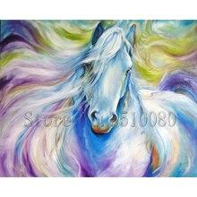 цена на RS1703 Full Horses Drill Resin Ribbon Mosaic Unicorn 5D Diy Embroidery Diamond Painting colorful animal 3D Cross Stitch Kits roo