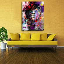 handpainted oil painting woman face on canvas abstract colorful female photo to