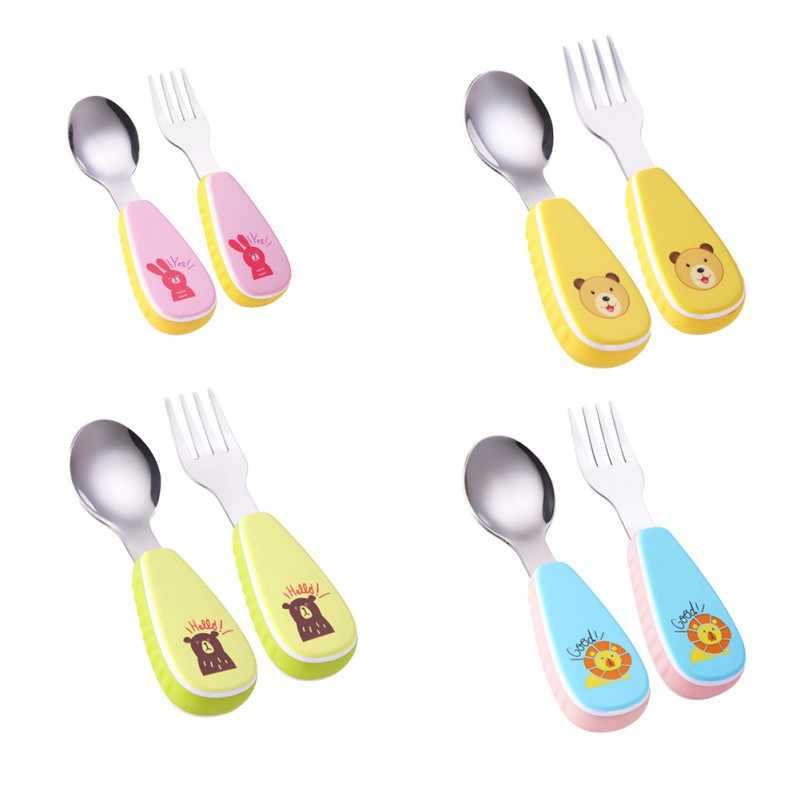 2pcs / set Baby Table Feeding Sponge Lovely Print Cartoon Baby Kids Feeding Spoon + Fork High Quality Stainless Steel Baby Spoon