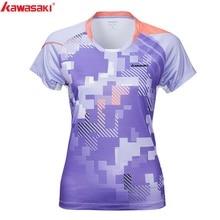 KAWASAKI Summer Gym Fitness Women Sports T-Shirt Quick Dry Short Sleeve Running Badminton Tennis T Shirt ST-S2107 цена