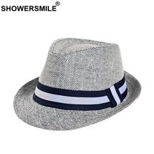 SHOWERSMILE Grey Jazz Hat Men Classic Patchwork Fedora Hats