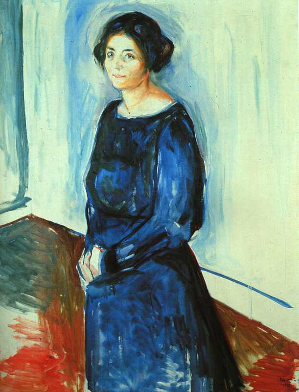 Oil Painting Reproduction on Linen Canvas,woman-in-blue-frau-barth-1921 by Edvard Munch,100% handmadeOil Painting Reproduction on Linen Canvas,woman-in-blue-frau-barth-1921 by Edvard Munch,100% handmade