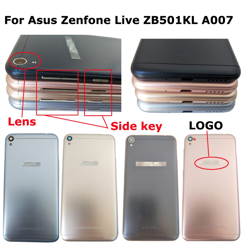 100% Orig New For Asus Zenfone Live ZB501KL A007 Rear Back Door Housing Battery Door Cover With Side Key