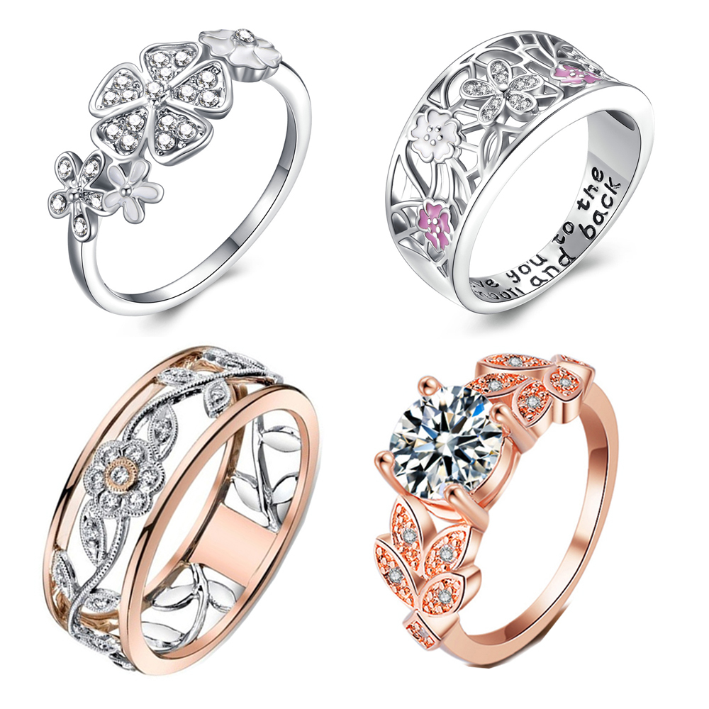 Brand Ring Jewelry Crystal-Rings Flowers Sparkling Rose-Gold-Color Women Zircon Engagement