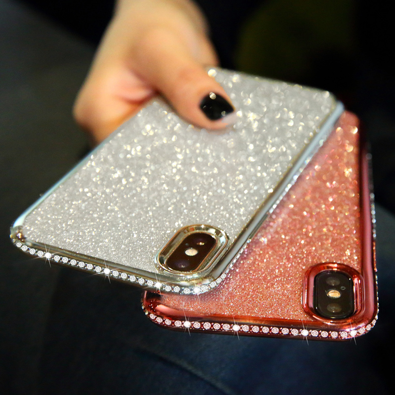 Rhinestone Glitter Case for iphone XS MAX XR 10 X 7 8 Plus 6 6s Soft Silicone TPU Diamond Sexy Girl Protector Back Cover(China)