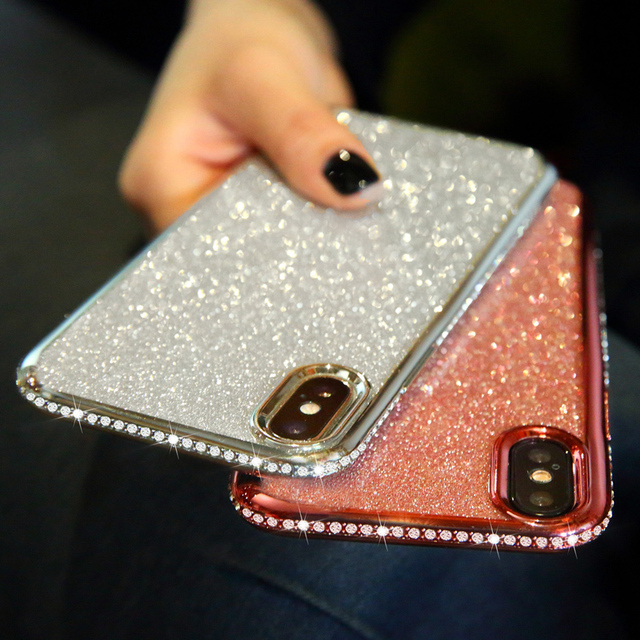 Rhinestone Glitter Case for iphone XS MAX XR 10 X 7 8 Plus 6 6s Soft Silicone TPU Diamond Sexy Girl Protector Back Cover