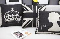 TRÊN BÁN Retro Đen Người Anh cờ vương miện 1st cotton linen ném pillow case pillowcase/đồ gia dụng Bán Buôn