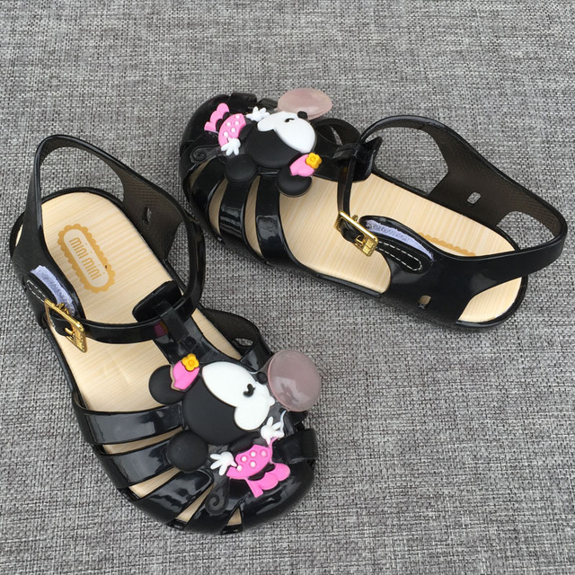 Cute Mini Melissa Mickey Sandals 2017 NEW Melissa Jelly Crystal Children Shoes Mickey Minnie Girls Slippers Princess Shoes