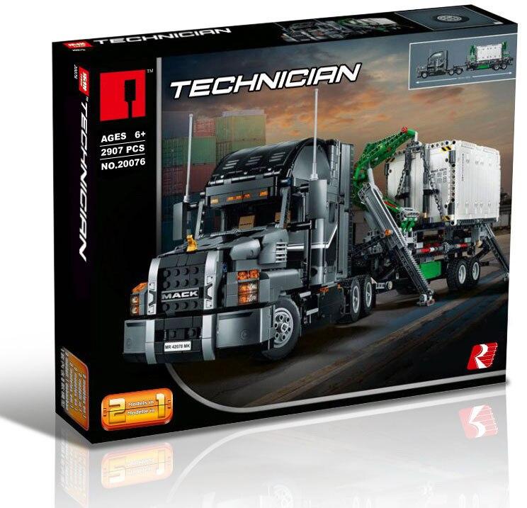 맥 큰 트럭 세트 20076 기술 시리즈 42078 빌딩 블록 벽돌 키트 교육 완구 조립 어린이 선물-에서블록부터 완구 & 취미 의  그룹 1