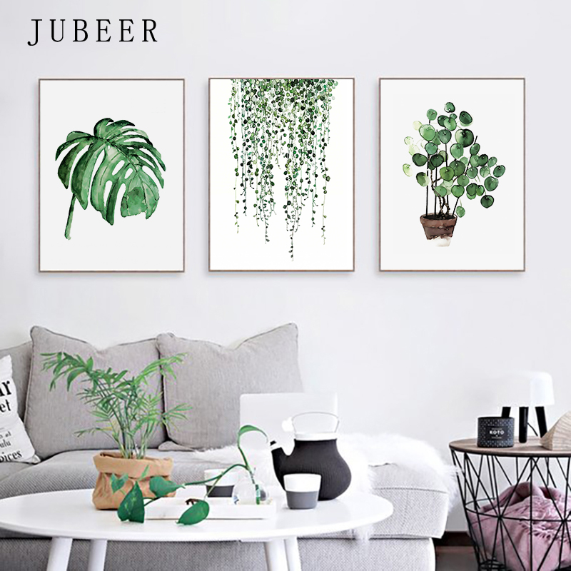 HTB1l3K5dlCw3KVjSZFlq6AJkFXaN Scandinavian Style Tropical Plants Poster Green Leaves Decorative Picture Modern Wall Art Paintings for Living Room Home Decor