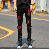 Men Hole Plaid Splice Black Jeans Male Fashion Casual Hip Hop Punk Gothic Style Denim Pant Trousers