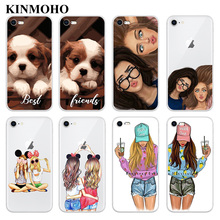KINMOHO Transparent Soft TPU Best Friends Forever BFF Phone Cases Cover For iPhone 7 8 Plus 6s 6 X XR XS MAX 5S SE Capinha Funda цена