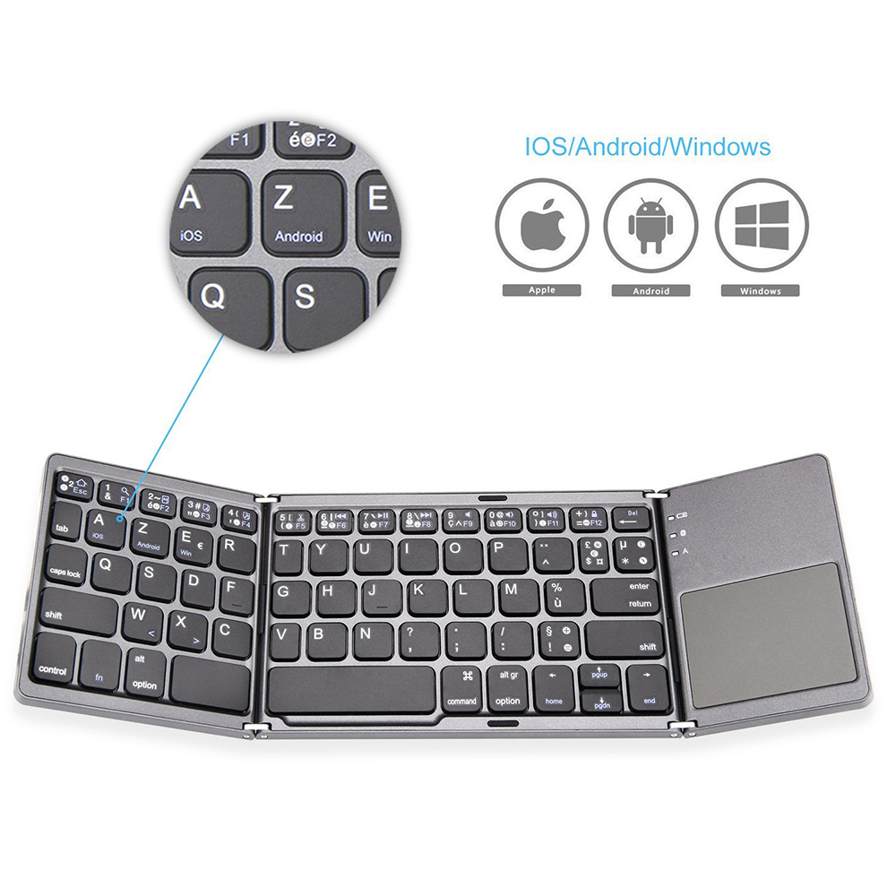 Zienstar-AZERTY-French-Tri-Folding-Wireless-Bluetooth-Keyboard-with-Ttouchpad-for-ipad-Iphone-Macbook-PC-computer