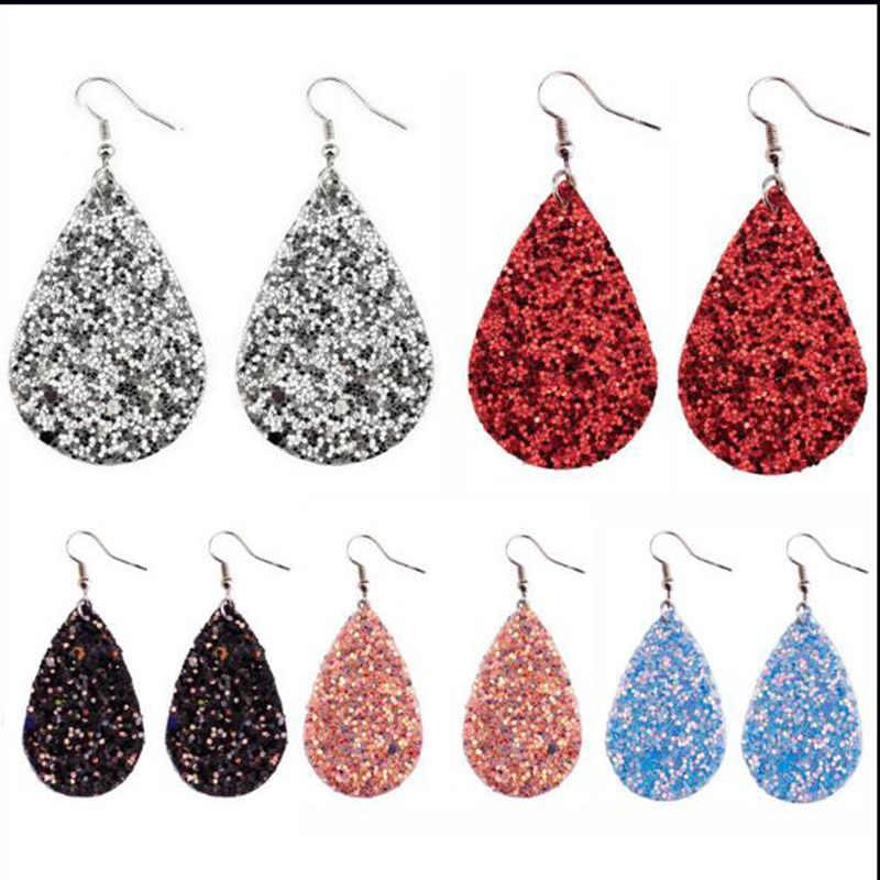 Bohemian Fashion Jewelry simple pendant drop earrings for women glitter tear leather Earrings 6 colour Best friend gifts A79-A84