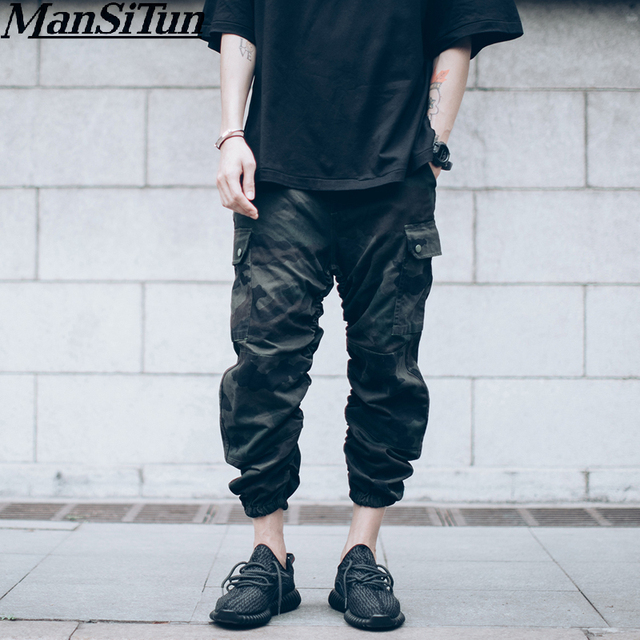 2019 Kanye West Style Joggers Pantalettes Fashion Men Pants Design Hip Hop  Mens Ankle Camouflage Jumpsuit