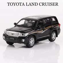 Car Models 1:32 Toyota LAND CRUISER Vehicles Alloy Car Toys For Children Model Simulation Diecast Pull Back Sound Light 3 Colors(China)