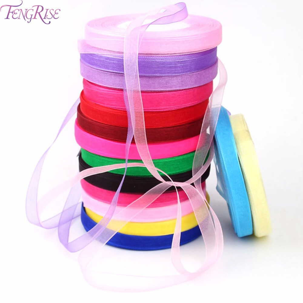 FENGRISE Wedding Decoration 10mm Organza Ribbon Gifts Wrapping DIY Roll Birthday Party...