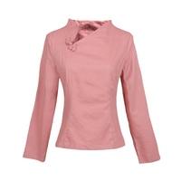 Women Skew Collar Solid Red Shirts Elegant Chinese Vintage Slim Tang Clothing 2018 New Autumn Full
