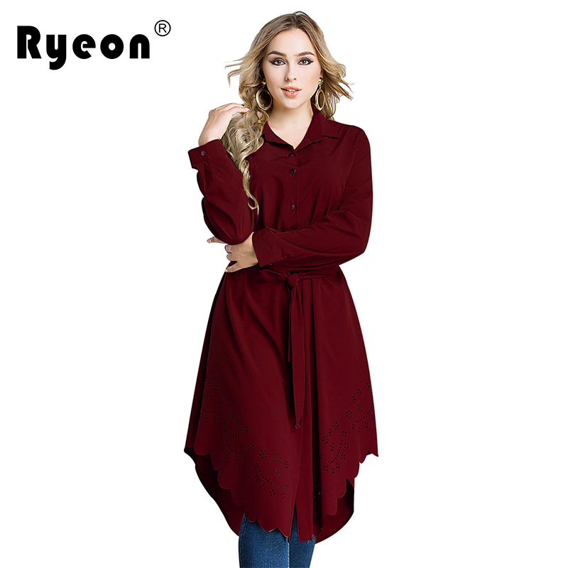 Dropwow Ryeon Shirt Dress Plus Size Autumn Spring Casual Women Dress ... f08176696c1c