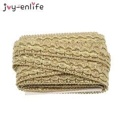 JOY-ENLIFE 5m/lot 1.5cm Width Gold Lace Trim DIY Craft Wedding Doll Dress Ribbon DIY Clothes Accessories Curve Lace