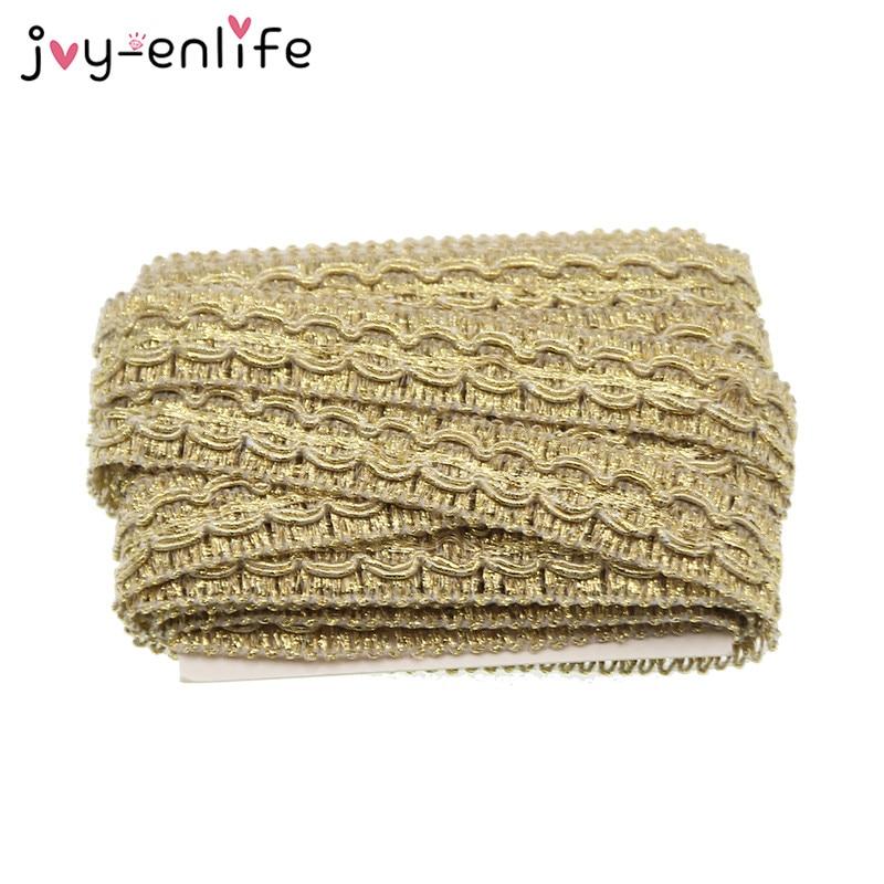 JOY ENLIFE 5m lot 1 5cm Width Gold Lace Trim DIY Craft Wedding font b Doll