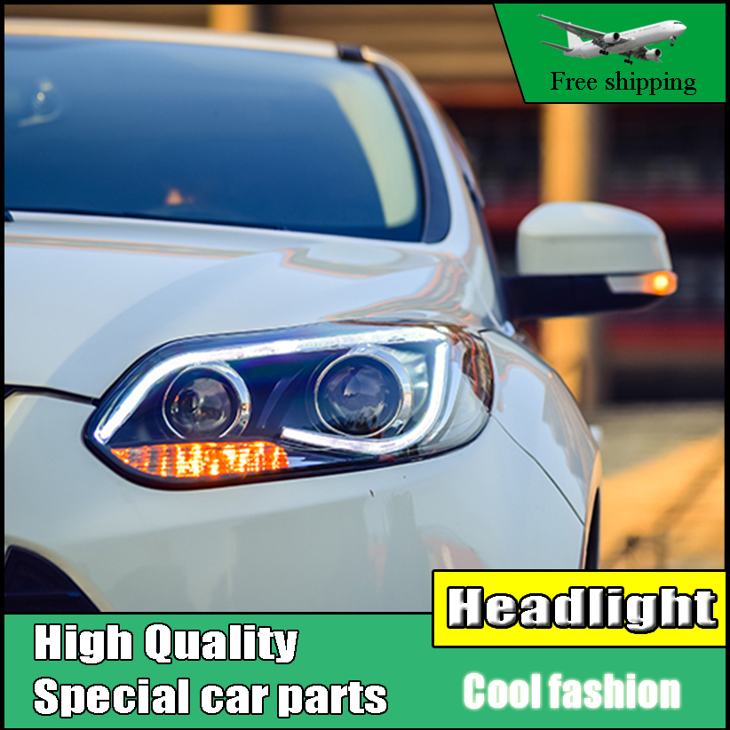 high quality Car styling Head Lamp case For Ford Focus MK3 2012-2014 Headlights LED Headlight DRL Lens Double Beam HID Xenon high quality car styling case for mitsubishi lancer ex 2009 2011 headlights led headlight drl lens double beam hid xenon