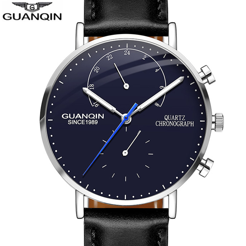 Fashion Sport Watch men Top Brand GUANQIN Luxury Ultrathin Quartz Watch Men Leather Strap Luminous Chronograph Relogio masculinoFashion Sport Watch men Top Brand GUANQIN Luxury Ultrathin Quartz Watch Men Leather Strap Luminous Chronograph Relogio masculino