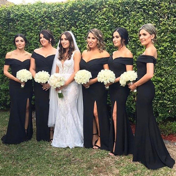 Black Mermaid Bridesmaid Dresses 2019 Boat Neck Side Split Simple Satin Long Wedding Guest Dress Cheap Maid Of Honor Gowns