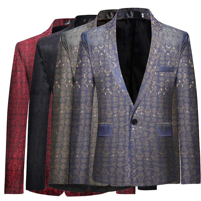 Fashionable Men's Suits Jackets Elegant Slim Business Wedding Dress Male Blazer Coats 4 Color Print Suit Jacket Men Size S-XL.