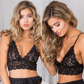 Floral Sheer Lace Triangle Bralleter Crop Top Unpadded Mesh Lined