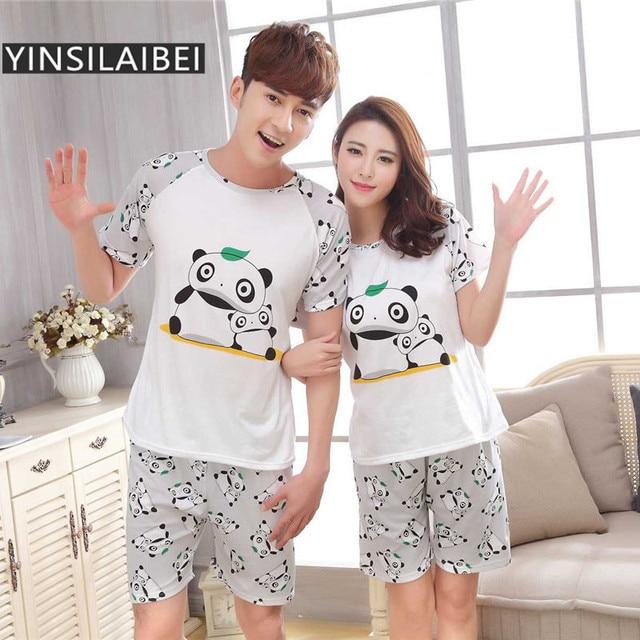 292b53ff47 YINSILAIBEI Cute Panda Printed Couple Summer Short Sleeve Pajamas Set Women    Men Sleepwear Home Clothing