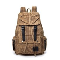 Vintage Canvas Drawstring Travel Backpack Men Fashion Male 15 Inch Laptop Backpack Casual School Bags For Boys Mochila Feminina