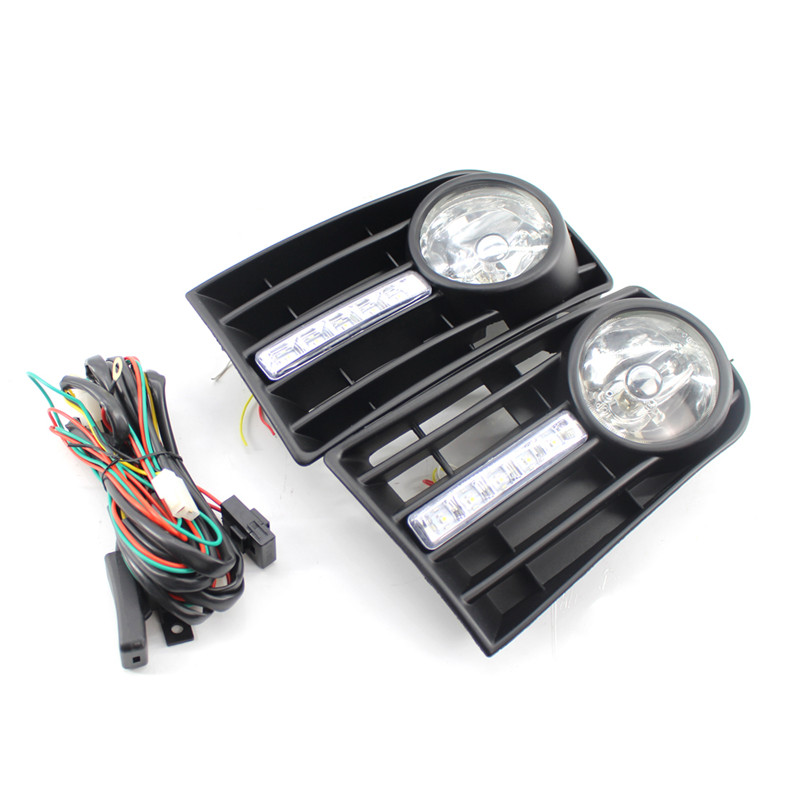 A Pair of Car Headlights LED Fog Lights Turn Signals Day Light Kit for The Volkswagen Golf 5 Car Styling Accessories pair 7x6inch led headlights 27450c of