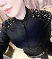 2018 spring women blouse new Korean bead spire fashion base shirt Slim white shirt female long sleeve blouse