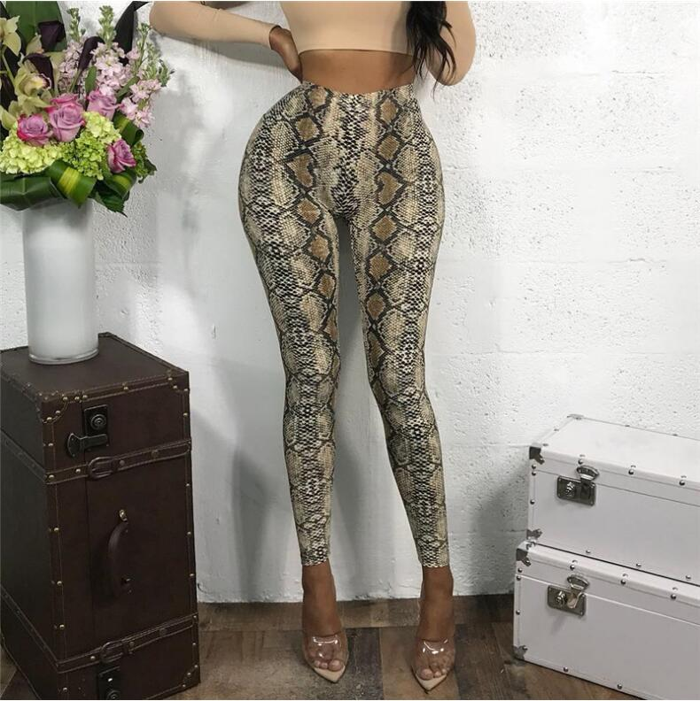 Workout Fitness Snake Print Leggings   Pants   Casual Elastic High Waist Ladies Trousers Elegant Pencil   Pants     Capris   2019