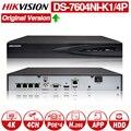 <font><b>Hikvision</b></font> оригинальный DS-7604NI-K1/4 P 4CH POE встроенный разъем Play 4K PoE NVR для IP система наблюдения ссtv обновляемый HDD выбор.