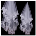 Best Selling!! Short Lace Edge One Layer Wedding Veils Bridal Gowns Cheap Appliques Handmade White Ivory Fashion Soft Tulle