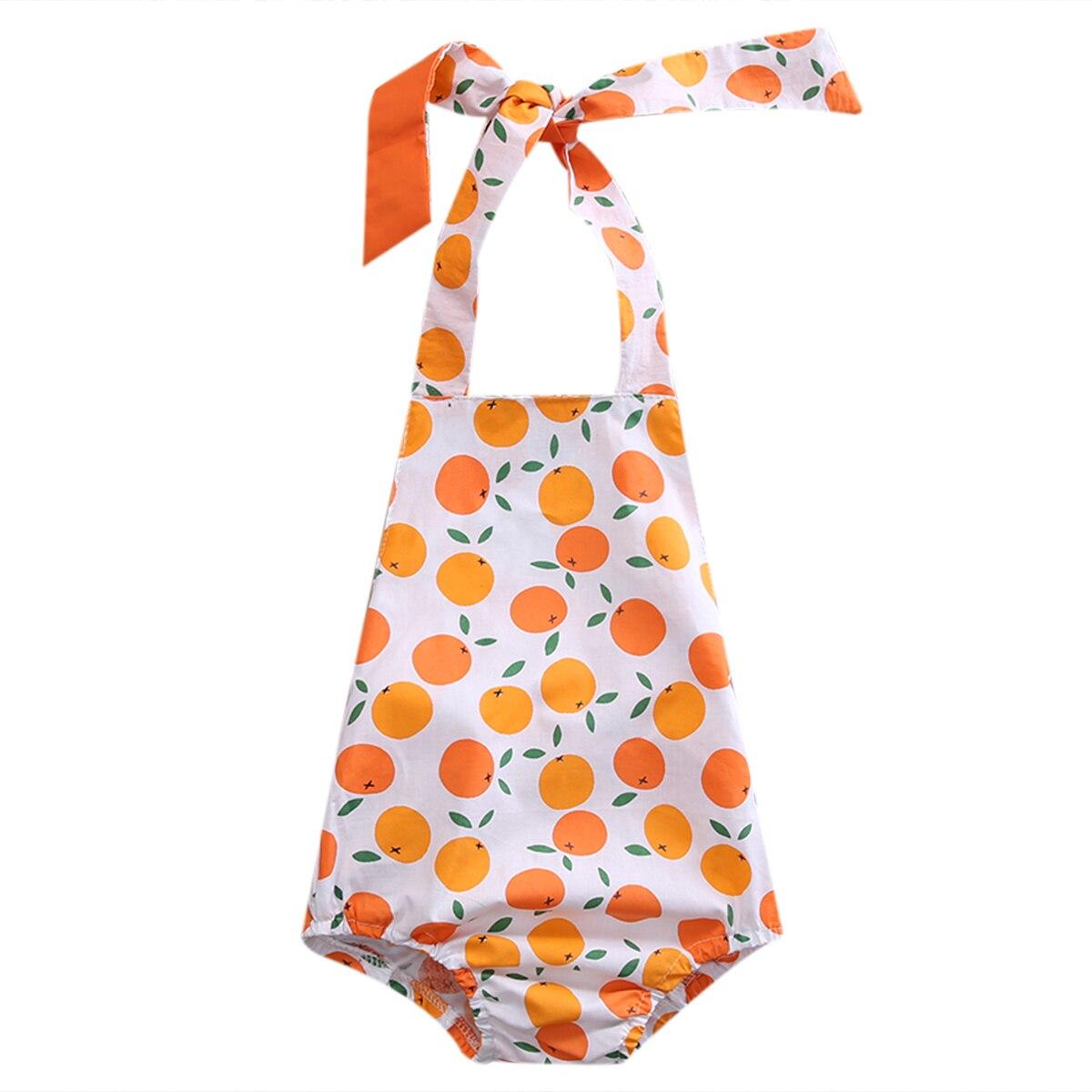 Новинка 2017 года Модная одежда для малышей для девочек оранжевый печатных рукавов хлопок ремень ползунки комбинезон, костюм наряды
