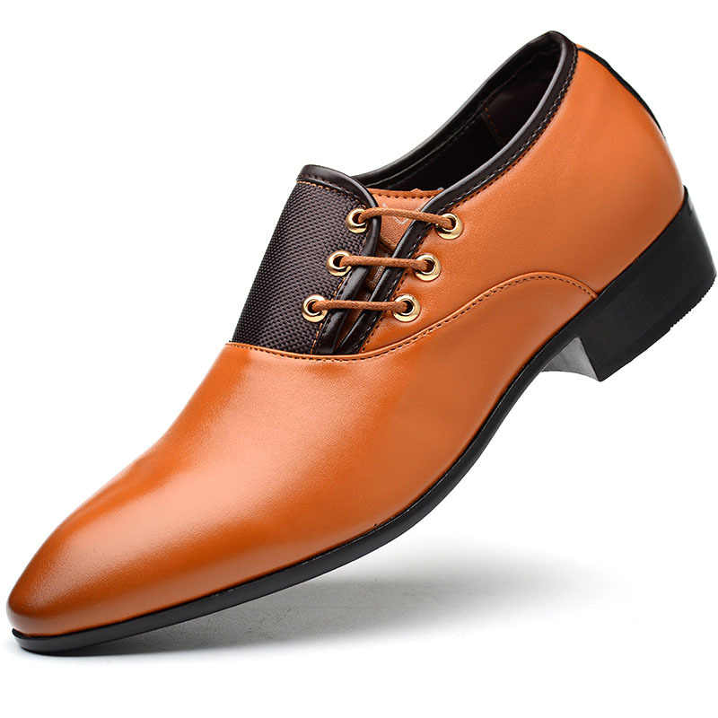Business Men PU Leather Shoes Formal Casual Flat Pointed Toe Lace-Up Shoes KS-shipping