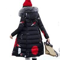 With Fur Hooded Woman Winter Jacket Women S Coat Plus Size 3XL Padded Long Parka Outwear