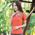 Raglan Manga Verão 2016 Coreano Bordado T Shirt Verão Mulheres Nova Moda de Algodão Fino Tops