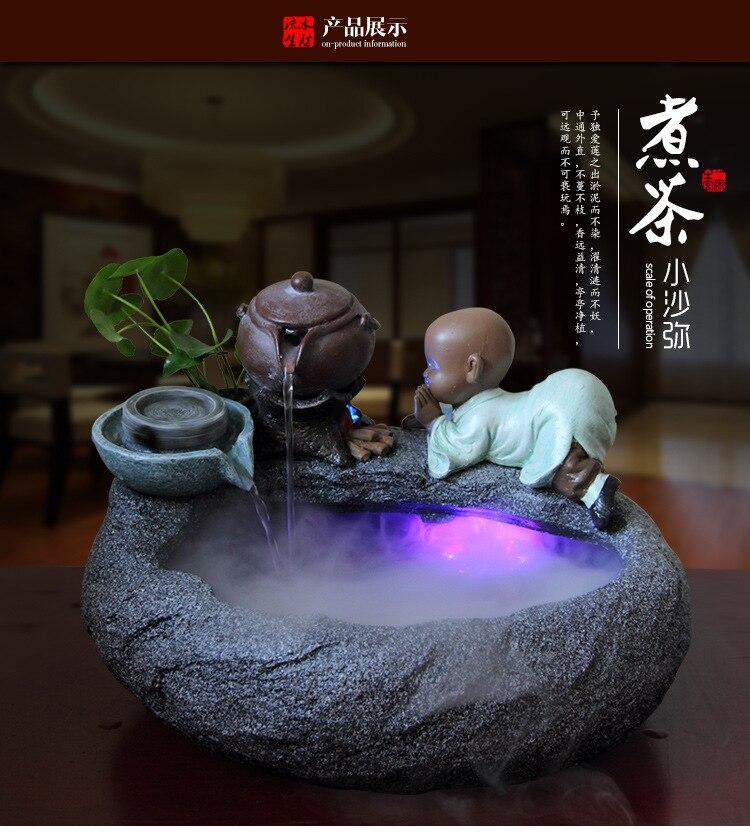 Résine fontaine d'eau Feng Shui petit moine fontaine d'eau roue d'eau Figurine Statue décoration de la maison