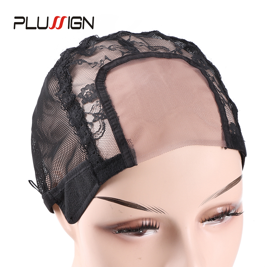 Plussign U Part Swiss Lace Wig Cap Black Hairnet Wig Caps For Making Wigs Weaving Cap With Adjustable Strap Wig Making Tools
