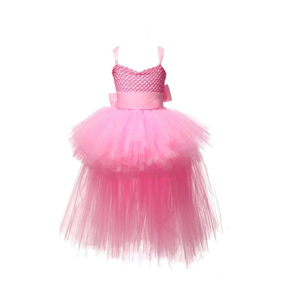 Image 2 - V neck Train Girls Tutu Dress Tulle Flower Girl Dresses Pink Girls Wedding Pageant Ball Gown Children Girl Birthday Party Dressgirls birthday party dressgirls tutu dressgirls dress -